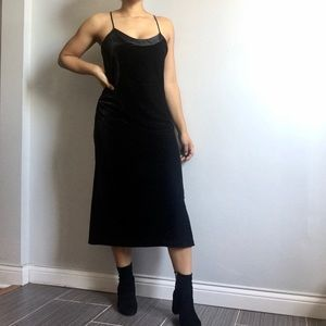 VINTAGE 1990s Black Velvet Slip Midi Dress M
